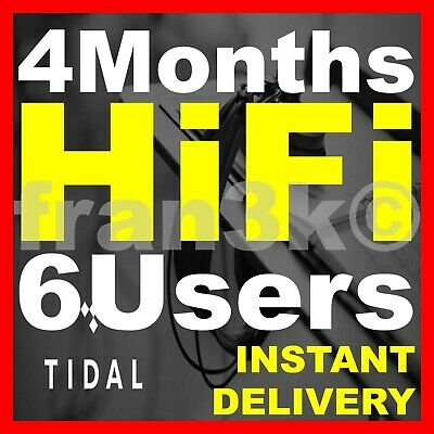 TIDAL Hi-Fi FAMILY Plan || 6 Users 4 Months GUARANTEED || INSTANT DELIVERY 5 min