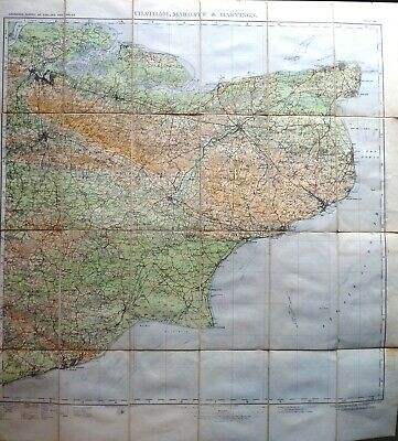 O/S Map CHATHAM MARGATE & HASTINGS 1928 half-inch to mile dissected