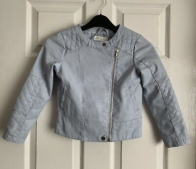 H&M Girls Faux Leather Pale Blue Jacket 6-7 Years