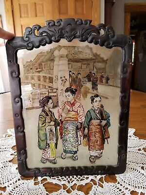 Antique 19th Cen Chinese Japanese Carved Redwood Frame Reverse Glass Painting