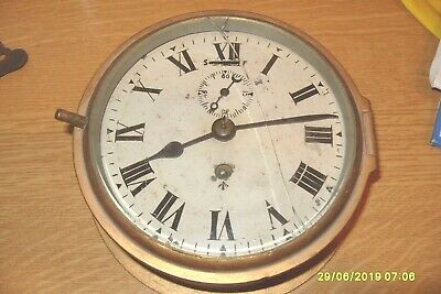 ships clock  working  BRASS  /|  CROWS FOOT STAMP