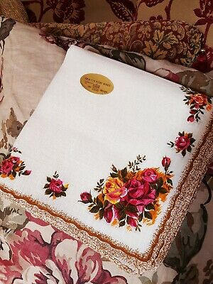 "Set Of 4 Royal Albert ""Old Country Roses"" Linen Napkins, Each Approx 42cm x 43cm"