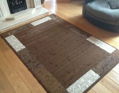 Modern Brown Rugs Runners Mats Large Small Soft Contemporary Bordered Design