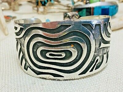 Vintage Sterling Silver Abstract Overlay Cuff   Hopi Guild Silverwork
