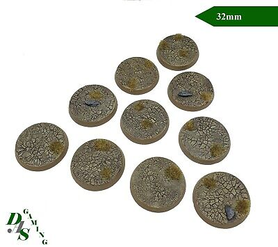 32mm Round Cracked Earth Resin Scenic Bases (x10) Warhammer 40K Sigmar