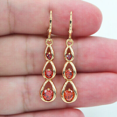 18K Yellow Gold Filled Women Red Topaz Zircon Teardrop Dangle Earrings Jewelry