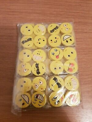 72 Funny Face Novelty Emoji Erasers - Smiley Face Rubbers - Party Bag Fillers