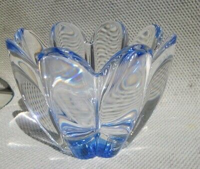 """Orrefors Sweden """"MAYFLOWER"""" CLEAR AND BLUE CRYSTAL VASE SIGNED ALSO HAS STICKER"""
