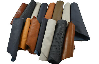 Assorted Upholstery Leather Remnants 2-3 hands Cowhide offcuts | FULL GRAIN