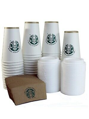 Starbucks wLid Disposable Hot Paper Cup, 12 Ounce, Sleeves and Lids (Pack of 50)
