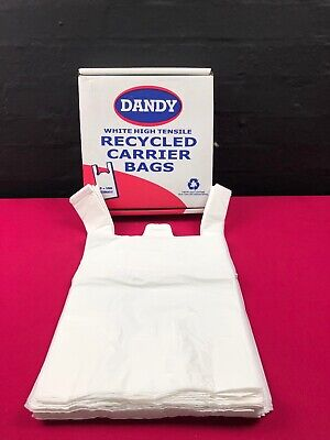 """Dandy Recycled Hi Tensile White Vest Carrier Bags Large 20"""" x 11"""" 500 Box Shop"""