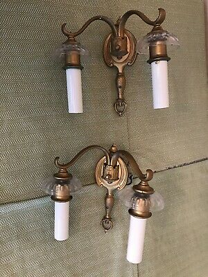 Antique  Wall Sconce Pair Double Arm Light Fixtures