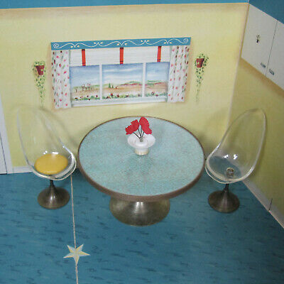Vtg 60s PETITE PRINCESS KITCHEN TABLE & CHAIRS Mid Century Modern Ideal Patty