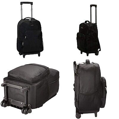 """Luggage Rolling Backpack With Double Wheels Shoulder Straps Pocket Organizer 17"""""""