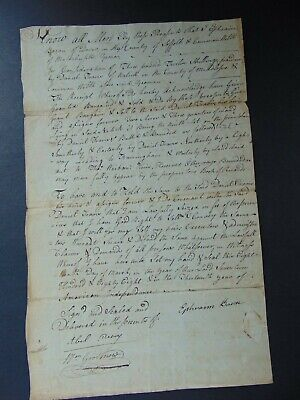 c.1788 EARLY AMERICAN MANUSCRIPT DEED DANIEL TRAVIS NATICK MASSACHUSETTS