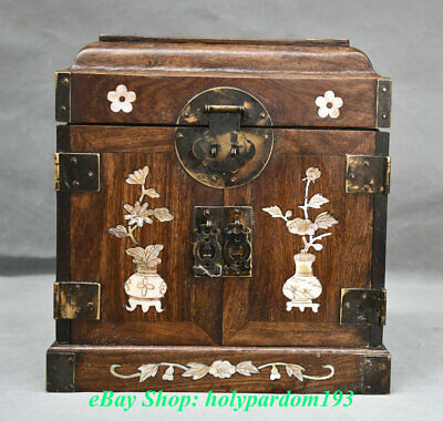 "11"" Chinese Huanghuali Wood Inlay Shell Flower Birds Drawer Cabinet Cupboard Box"