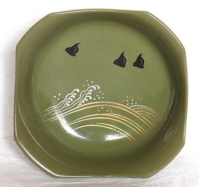Japanese Lacquer Ware Bowl Small Moss Green Plover Gold Silver Wave Vintage