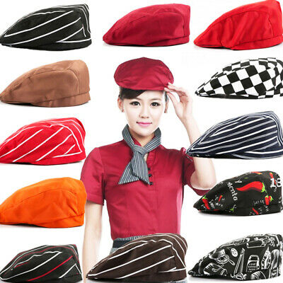 Men Women Chef Hat Kitchen Cook Catering Baker Duckbill Beret Golf Hats