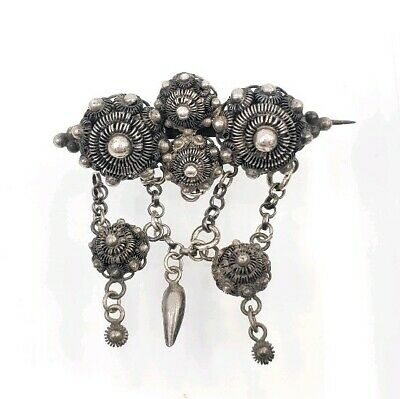 Fine Silver Antique Victorian Etruscan Revival Cannetille Scroll Filigree Brooch