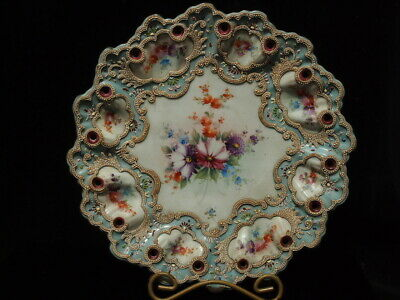 Antique Nippon Moriage Porcelain Plate Signed With Pierced And Lobed Border