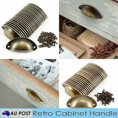 24 Pcs Cupboard Door Cabinet Cup Drawer Furniture Antique Pull Shell Handle
