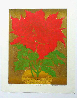 Limited Edition Japanese Woodblock Print By Takashi Hirose: Poinsettia