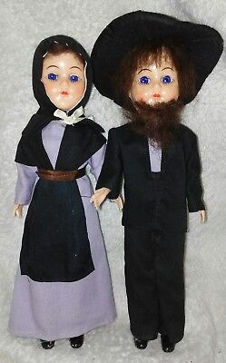 "Vtg AMISH Dolls 11"" Hard Plastic Woman Man Collectible Blue Eyes Open Close 2"