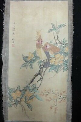 "Very Large Old Chinese Hand Painting Fruits and Birds ""QiuYing"" Mark"