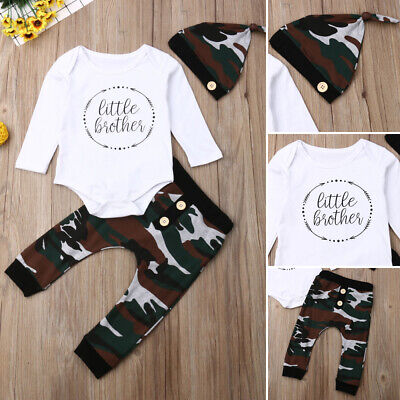 US Newborn Baby Boy Little Brother Top Romper Camo Pants Leggings Outfit Clothes