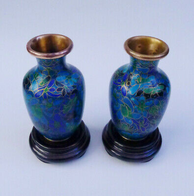 Lovely Pair of Cloisonne Vases with blossom design on a rich blue ground