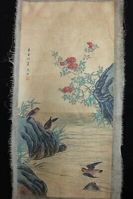 "Rare Large Old Chinese Hand Painting Flowers and Birds ""ZhouFang"" Marks"