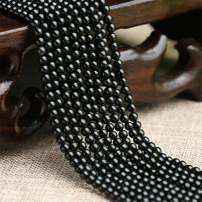 6mm Obsidian Loose Beads Making Jewelry 1PCS 15 inches Natural Shining Handmade