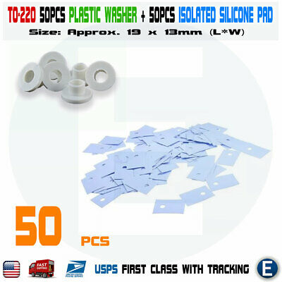 50pcs TO-220 Transistor Plastic Washer Insulation Washer + 50pcs Silicone Pads
