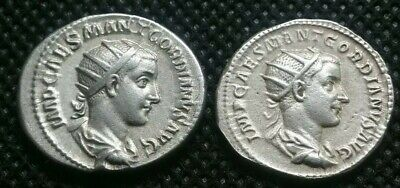 ANCIENT SILVER ROMAN COIN GORDIAN III lot of 2 rare coins