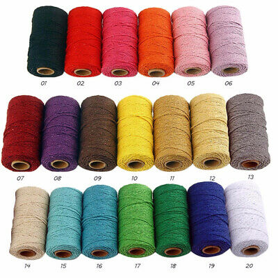 100m Long/100 Yard Pure Cotton Twisted Cord Ropes Macrame Artisan String