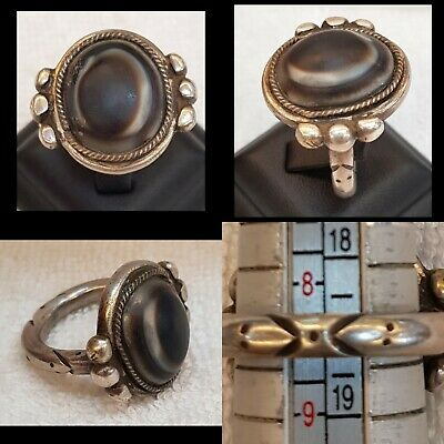 Antique Old Silver Ring with Wonderful Evil Eyes Protection Goat Eye Agate Stone