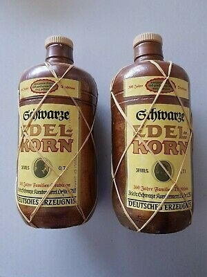 Pair of GERMAN SCHNAPPS Bottles GRHWARGE EDEL-KORN Liqueur from the 70's - EMPTY