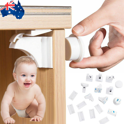 12X Child Baby Invisible Magnetic Lock For Door Drawers Cupboard Safety Lock AU