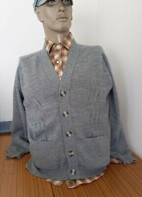 CASUAL GUY Vintage 70s 80s Grandpa Silver Grey Cardigan with Pockets size L