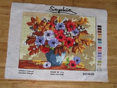 Completed Cross Stitch Of A Vase Of Flowers By Sophie Design Is 22 X 30Cms