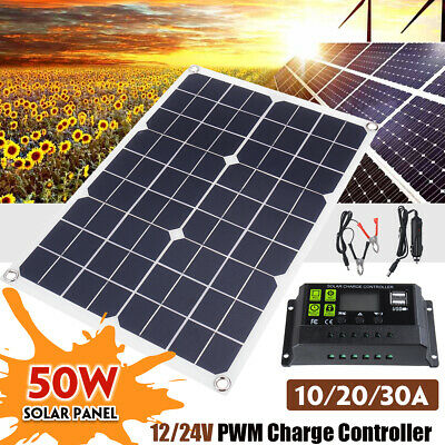 50W Flexible Solar Panel + 10-30A 12V 24V Controller Car Charger For RV Car Boat