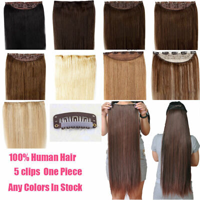 """20""""-22 inch One Piece hair Full Head Clips In 100% Human Hair Extensions 100g"""