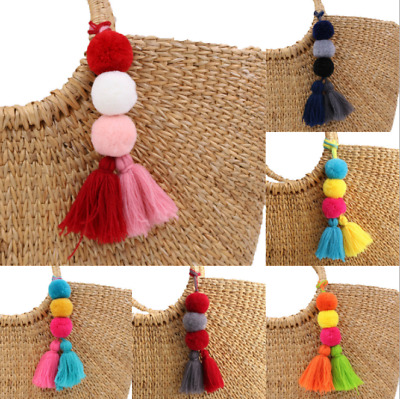 Colorful Tassel PomPom Charm Pendant Keychain Bag Handmade Accessories NEW