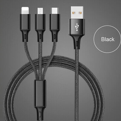 Universal 3 in 1 Multi-Function Cell Phone Game USB Charger Cable Cord New