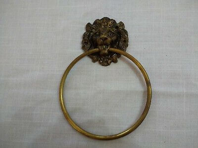 Old Brass Lion Head Door Knocker