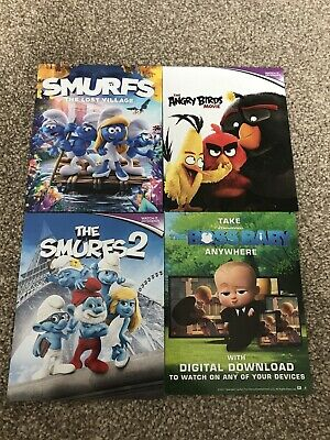 Angry Birds Smurfs Lost Village 2 Boss Baby *Uv Ultraviolet Download Codes* Dvd