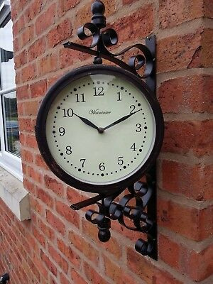 Outdoor Garden wall Steam Punk Clock & Temperature with Bracket, swivels 45 cm
