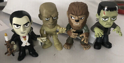 Funko Mystery Mini UNIVERSAL MONSTERS WOLFMAN Dracula FRANKENSTEIN MUMMY LoT 4