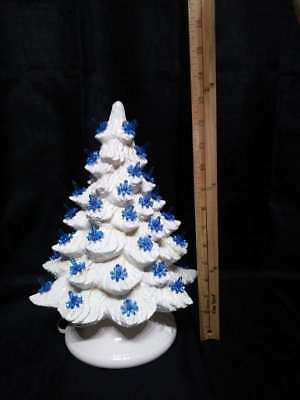 """Vintage White Ceramic Mold Christmas Tree Blue Lights 2pc Holly Berries Base 15"""""""