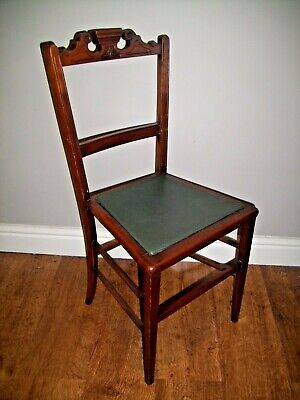 Antique Early 20th Century Edwardian Oak Bedroom Chair with Leatherette Seat